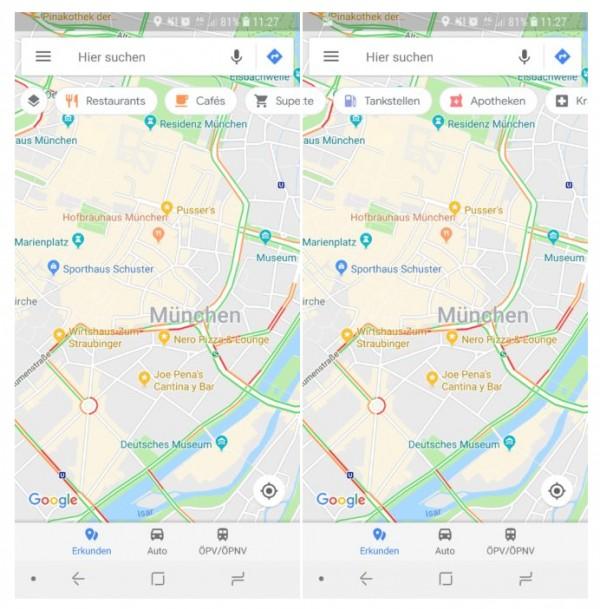 Разработчики Google Maps тестируют новую летающую панель поиска мест по категориям