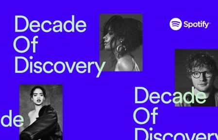 В честь 10-летнего юбилея Spotify опубликовал хит-парад наиболее популярных песен и исполнителей [инфографика]