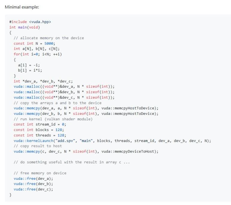 VUDA – интерфейс программирования с открытым исходным кодом для Vulkan