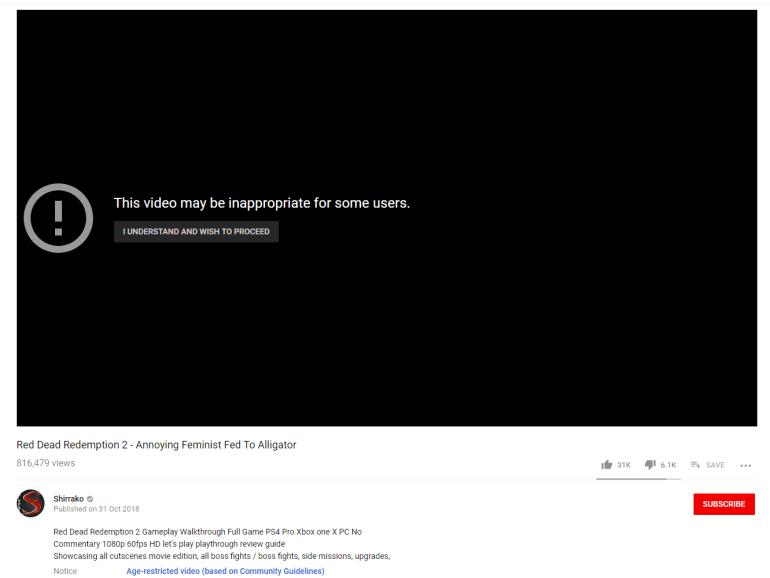 YouTube: видеозаписи Shirrako не нарушают правил площадки, но должны иметь возрастное ограничение
