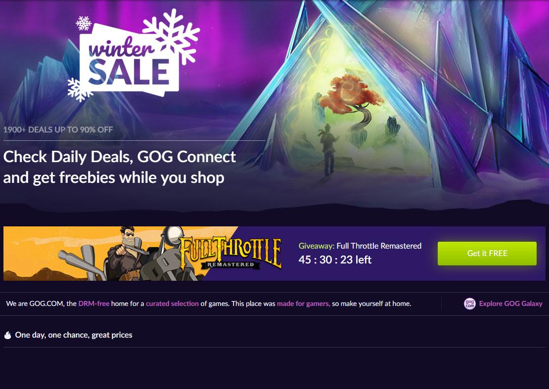 В GOG стартовала зимняя распродажа, а заодно бесплатно раздают игру Full Throttle Remastered на протяжении 2 дней - ITC.ua