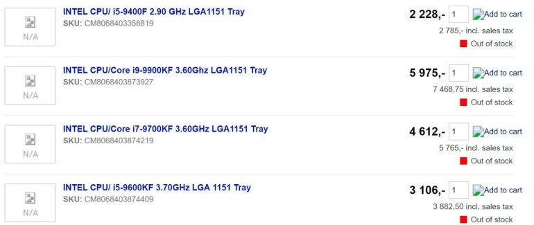 Intel готовит к выпуску процессоры Coffee Lake-S Refresh без интегрированной графики. Чипы уже засветились в нескольких интернет-магазинах