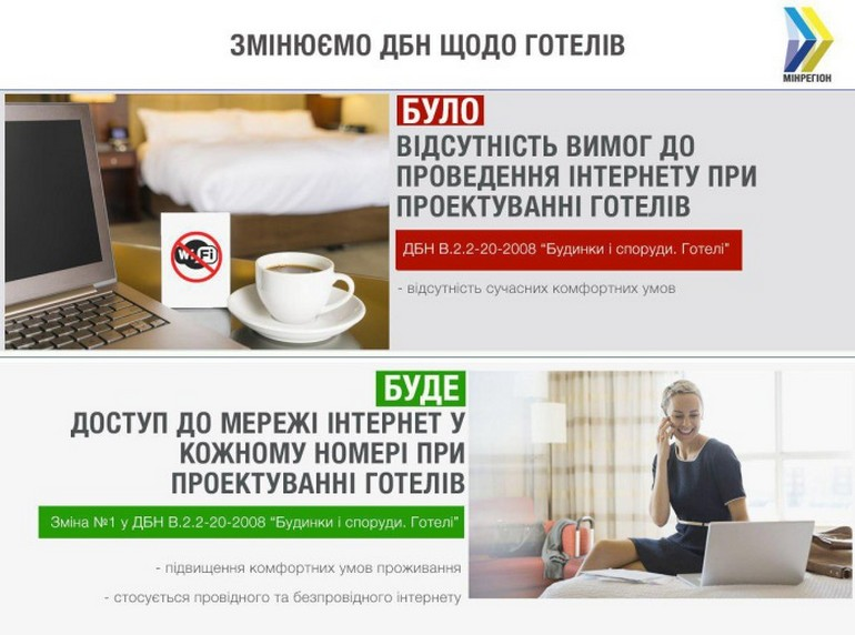 При проектировании гостиниц в Украине наконец будут предусматривать доступ к интернету в каждом номере