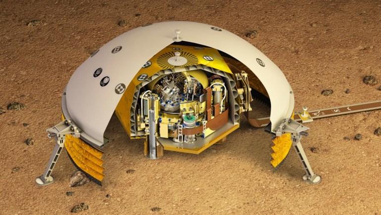 Посадочный модуль InSight накрыл сейсмограф SEIS специальным защитным колпаком