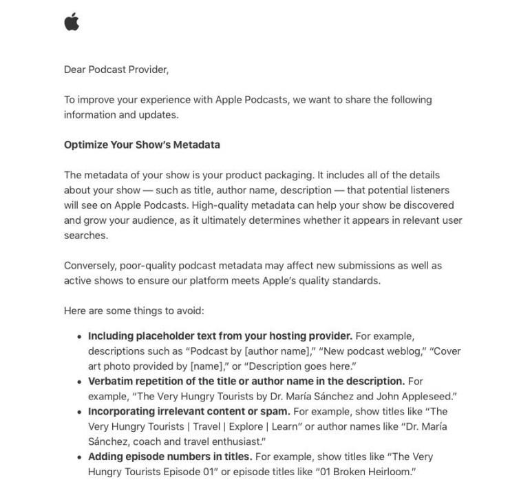 Apple сначала потребовала от авторов подкастов не указывать номера эпизодов в названиях, а затем уточнила, что это правило выполнять необязательно