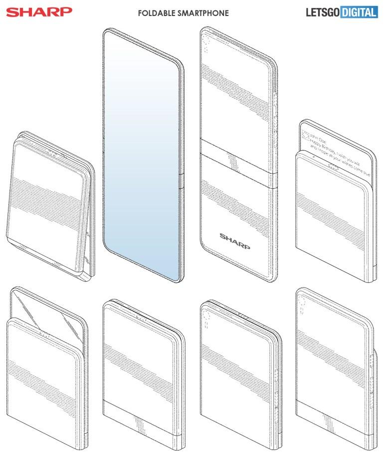 Sharp патентует складной смартфон-раскладушку с двумя шарнирами