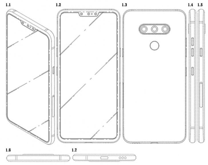 LG запатентовала смартфон с тройной фронтальной камерой