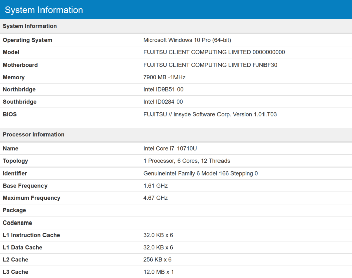 Раскрыты характеристики процессора Intel Comet Lake-U 10-го
