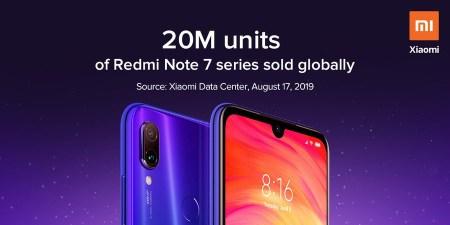 Продажи смартфонов Redmi Note 7 преодолели отметку в 20 млн штук (+5 млн за последние 40 дней)