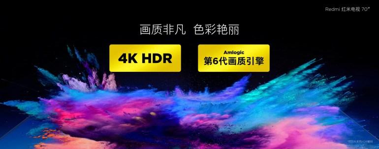 Официально анонсирован первый умный телевизор под брендом Redmi: диагональ 70 дюймов, поддержка 4K и HDR, цена $530