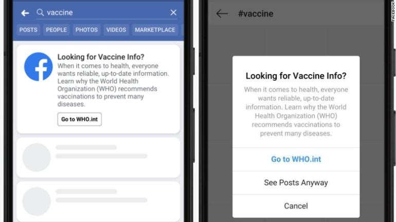 Facebook предложит почитать о вакцинации на сайте ВОЗ