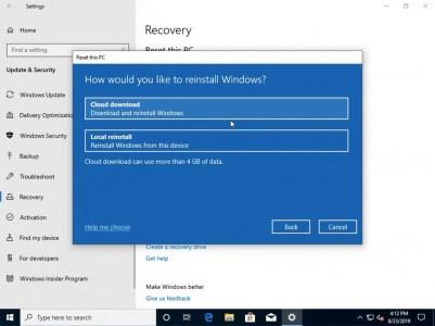 Microsoft предоставит пользователям возможность делать чистую установку Windows 10 из облака