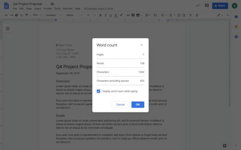 В Google Docs теперь можно видеть количество слов в документе прямо во время ввода текста
