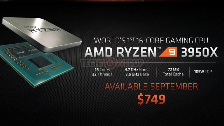AMD: 16-ядерный Ryzen 9 3950X и первые процессоры Ryzen Threadripper 3-го поколения выйдут в ноябре