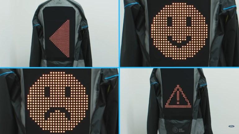 """Ford создал """"эмодзи-куртку"""" Emoji Jacket для велосипедистов, которая позволяет демонстрировать водителям автомобилей знаки поворота и эмоции [видео]"""