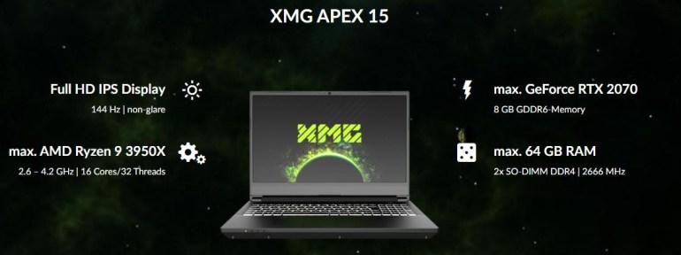 Schenker анонсировала игровой ноутбук XMG APEX 15 с 16-ядерным процессором AMD Ryzen 9 3950X