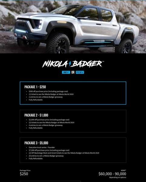 """Американцы открыли предзаказ на электропикап Nikola Badger с запасом хода почти 1000 км, он будет доступен в """"батарейной"""" и """"водородной"""" версиях по цене $60-90 тыс."""