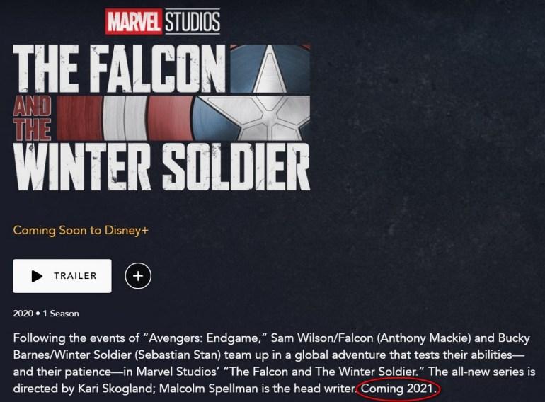 Disney+ перенес премьеру сериала The Falcon and the Winter Soldier / «Сокол и Зимний солдат» на 2021 год