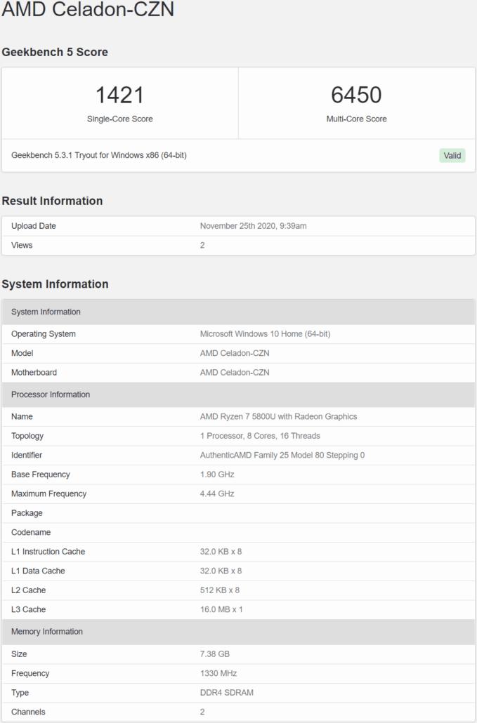 Процессор AMD Ryzen 7 5800U (Zen 3) на 38% опережает предшественника в одноядерном тесте