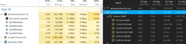 Epic Games Launcher потребляет ресурсы процессоров (5-10%) даже без запуска игр