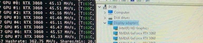 Китайские майнеры смогли обойти ограничение на майнинг в видеокарте NVIDIA GeForce RTX 3060 и теперь выжимают из неё до 50 МХ/с