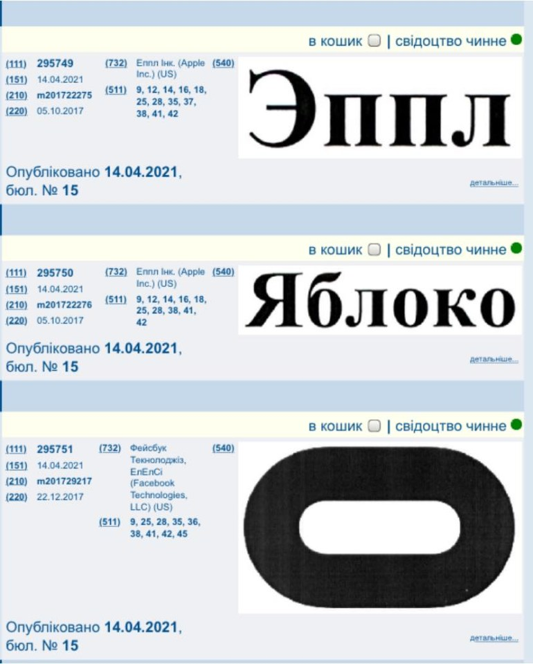 Apple зареєструвала в Україні торгові марки «Эппл» та «Яблоко», а Facebook запатентував лого Oculus