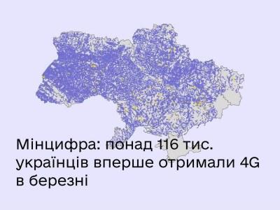 Мінцифри: Понад 116 тис. українців вперше отримали 4G в березні поточного року