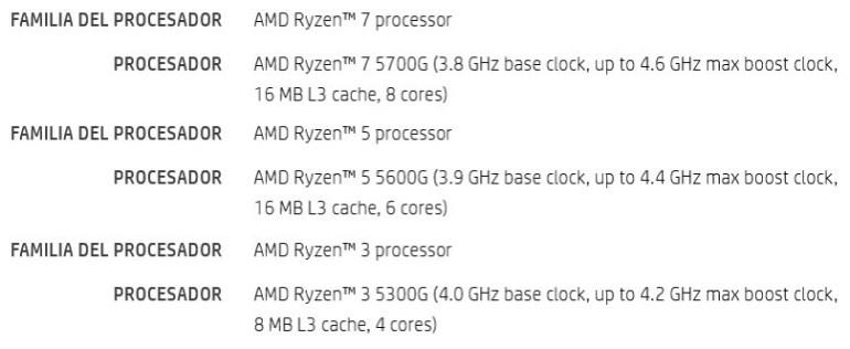 Модельный ряд и характеристики десктопных APU AMD Ryzen 5000G (Cezanne) — 8-ядерный 16-поточный Ryzen 7 5700G  будет работать на частоте от 3,8 до 4,6 ГГц