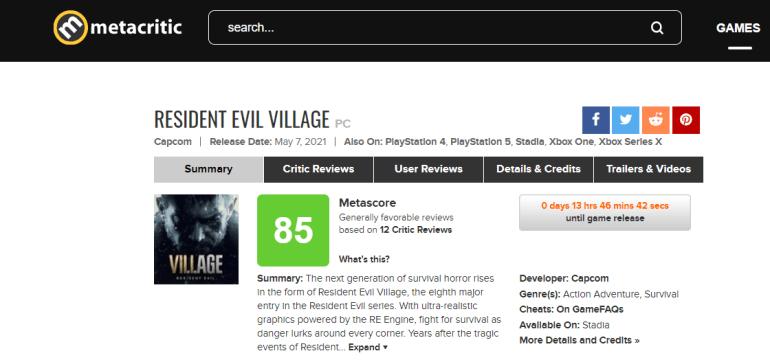 В сети появились первые оценки Resident Evil Village — средний балл на Metacritic составил 82-85 баллов из 100