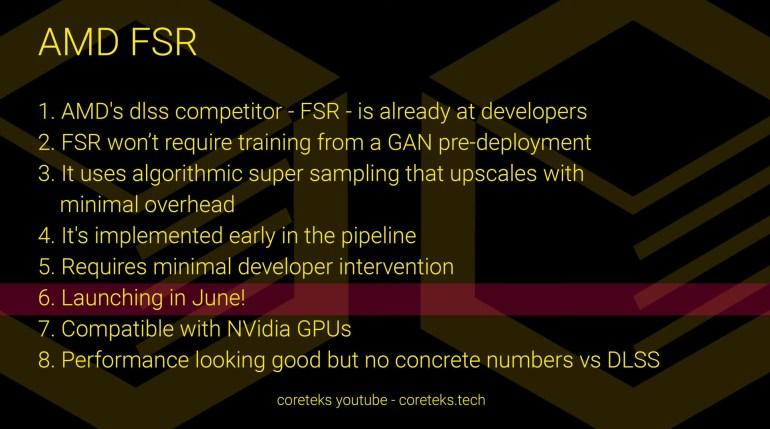 Технология AMD FidelityFX Super Resolution может быть представлена уже в июне, в том числе, с поддержкой GPU NVIDIA