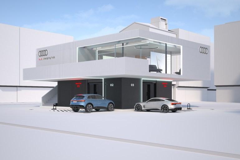 Audi разработала скоростную зарядную станцию мощностью 300 кВт на основе б/у батарей электромобилей суммарной емкостью 2,45 МВтч