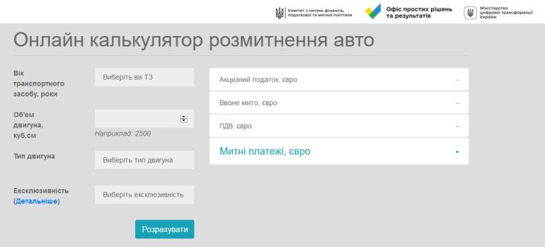 Офіс простих рішень та результатів виклав онлайн-калькулятор розмитнення автомобілів в Україні [інфографіка]