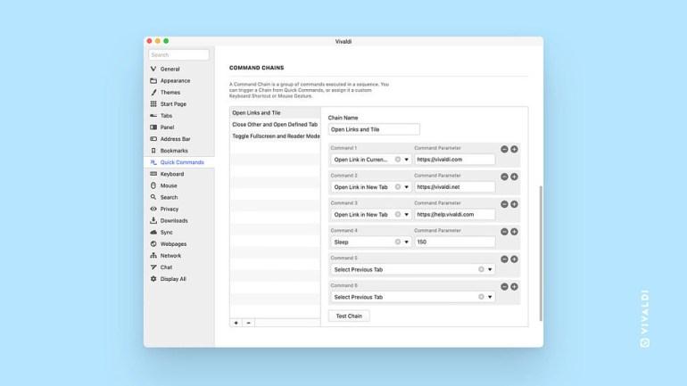 В браузере Vivaldi 4.1 улучшена группировка вкладок и добавлены цепочки команд