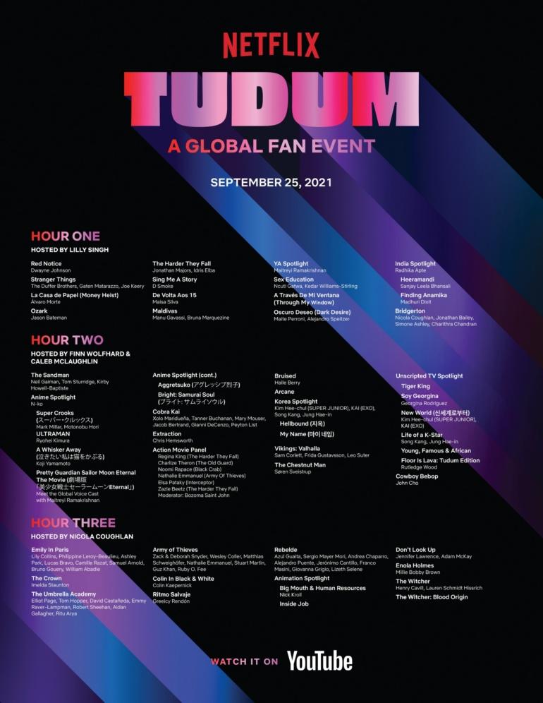 "Видеотрансляция фестиваля ""TUDUM: A Netflix Global Fan Event"": трейлеры The Witcher, Arcane, The Sandman, Cowboy Bebop, Army of Thieves, Extraction 2, Vikings: Valhalla, Ozark 4, Stranger Things 4, Tiger King 2"