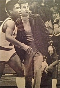 Don Holler, basketball coach at Aurora University, my mom sitting in background
