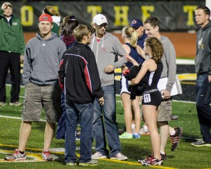Yorkville Coaches Talk with All-State Athlete Casey Kramer at the Joliet West IHSA Sectional