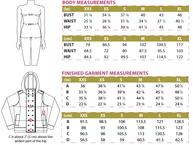 Jacqueline Hoodie Body and Finished Garment Measurements 2