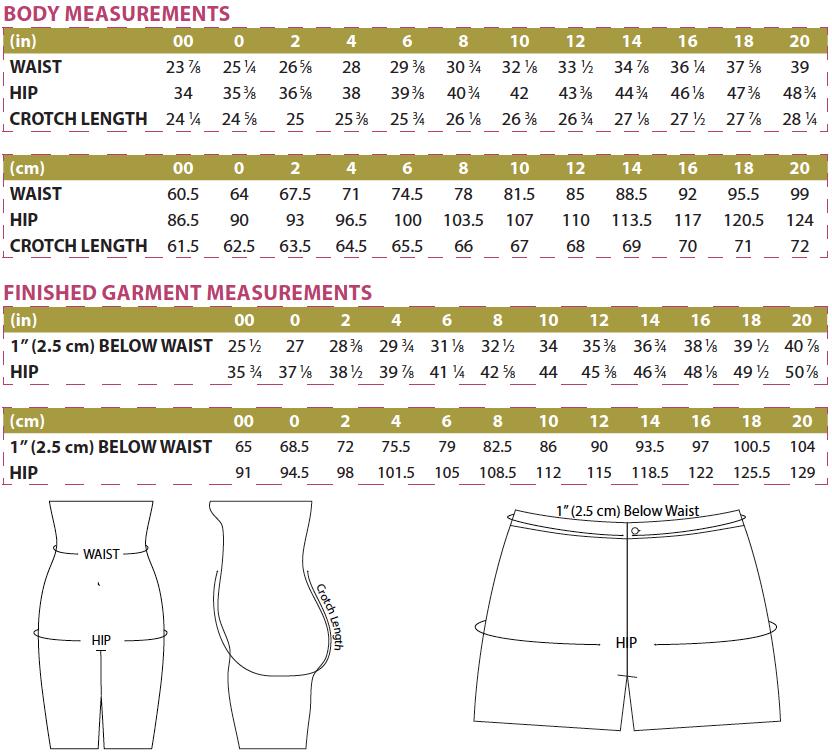 Anglia Shorts PDF Sewing Pattern Body & Finished Garment Measurements