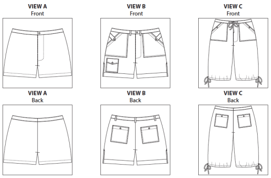 Angelia Short PDF Sewing Pattern View A B and C Line Drawings