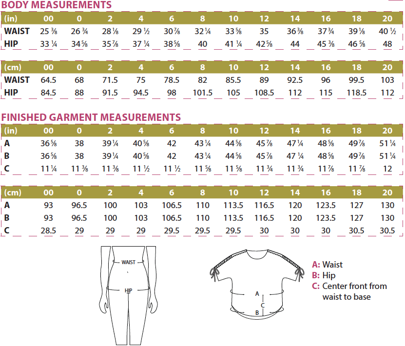 Carey Top Body and Finished Garment Measurements