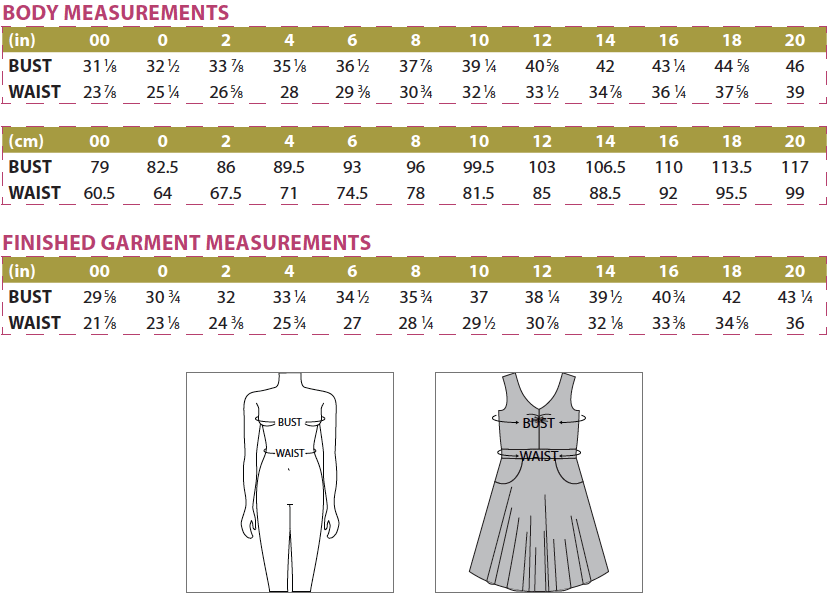 Davina Dress Body and Finished Garment Measurements