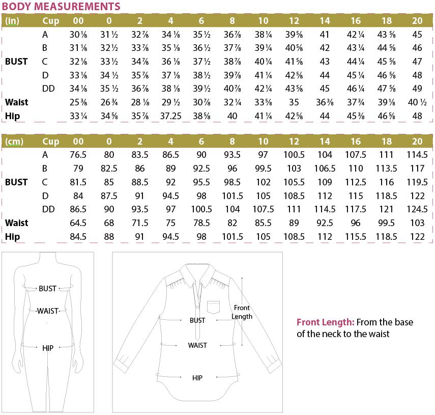 Mila Shirt PDF Pattern Body Measurements