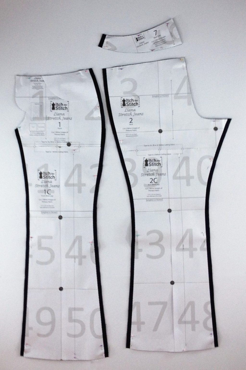 Liana Stretch Jeans Sewalong Day 3 Cut out pieces