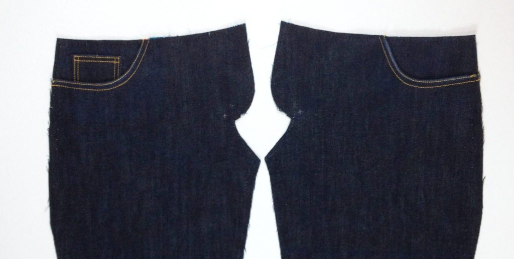 Liana Stretch Jeans Sewalong Day 7 Baste top, side and fly area through all layers.