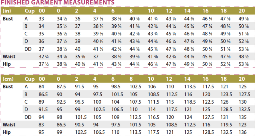 Bonn Shirt & Dress PDF Sewing Pattern Finished Garment Measurements