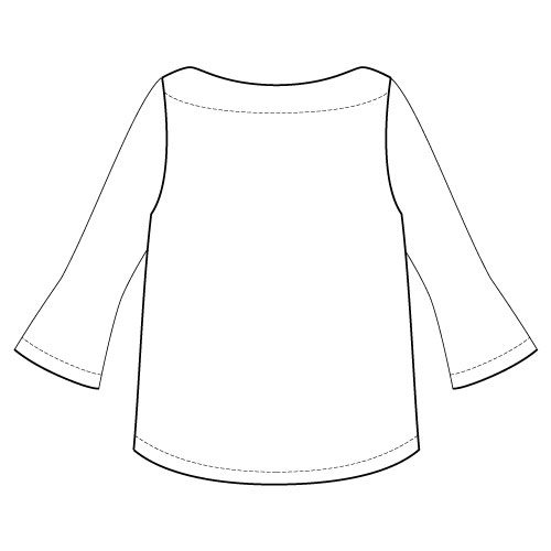 Newport Top Sewing Pattern Flute Sleeve Option - Back