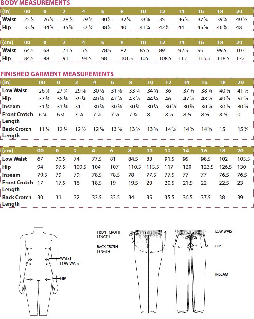 Tierras Woven Joggers PDF Sewing Pattern Body Measurements
