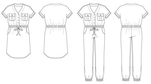 Itch to Stitch Anza Jumpsuit and Dress Line Drawings