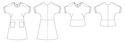 Itch to Stitch Beausoleil Top & Dress Line Drawing
