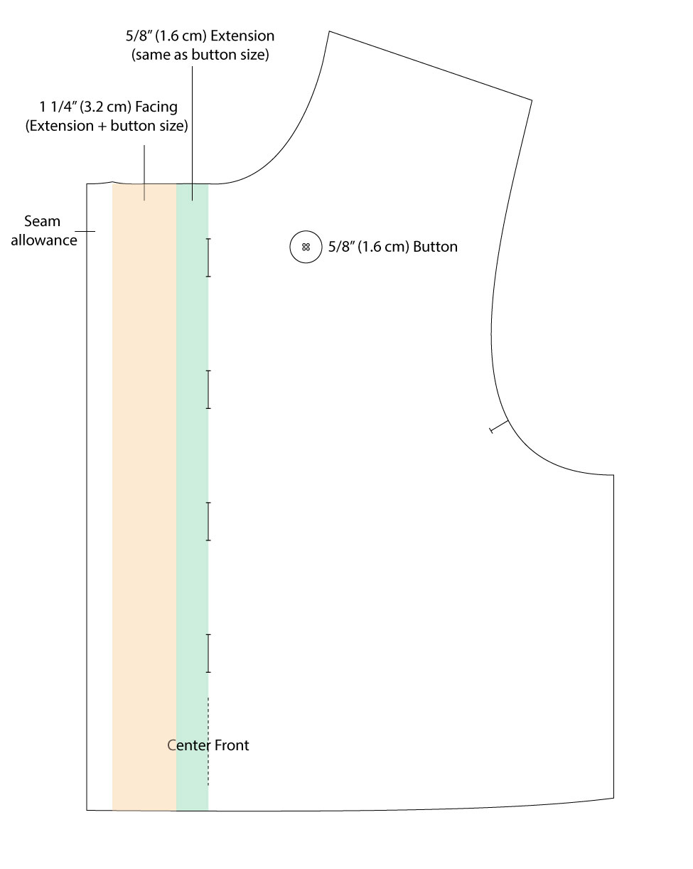 Placket Adjustment for Bigger Button